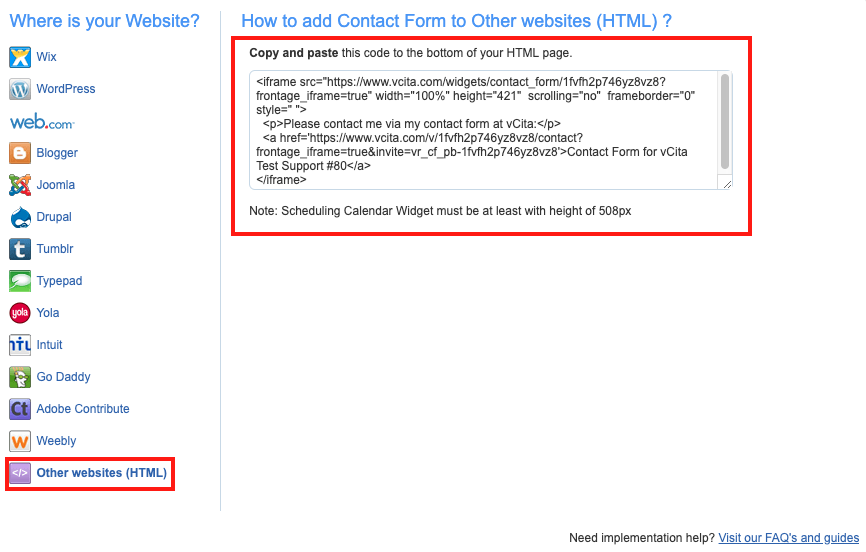 Add vCita Contact Form to Wix via HTML – vCita Help Center